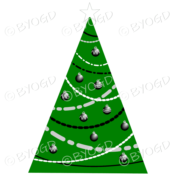 Designer Christmas tree with black and white decorations
