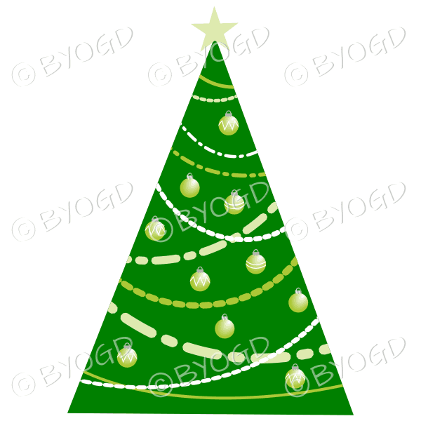Designer Christmas tree with green decorations