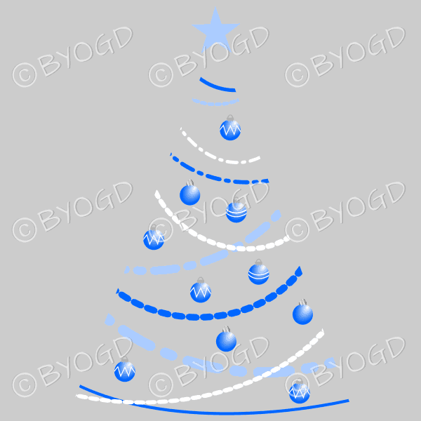 Clear backed designer Xmas tree with blue decorations
