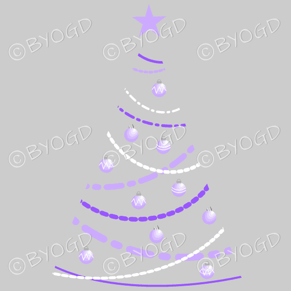 Clear backed designer Xmas tree with purple decorations