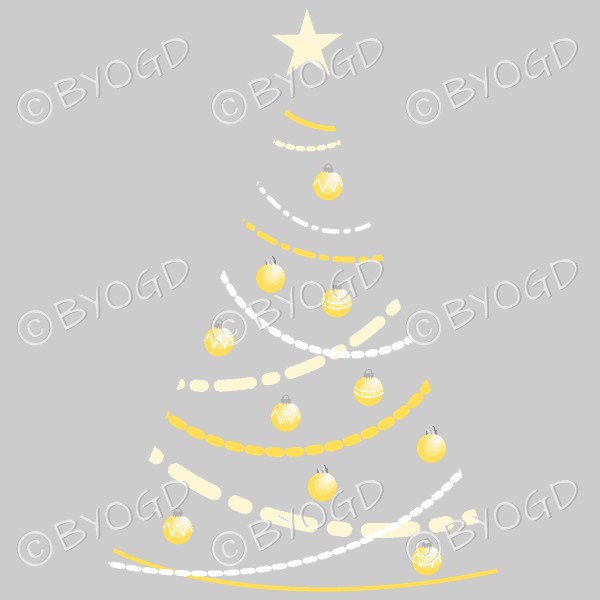 Clear backed designer Xmas tree with yellow decorations