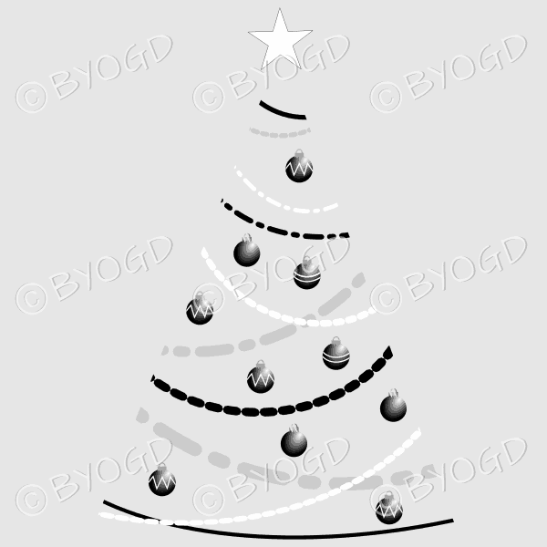 Clear backed designer Xmas tree with black and white decorations