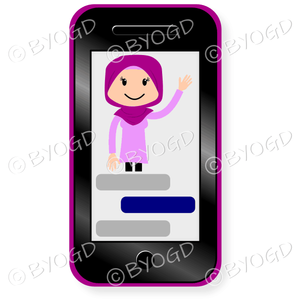 Smartphone with the image of a woman in pink hijab headscarf