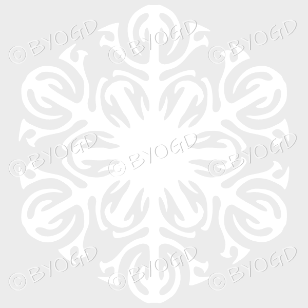 White snowflake D – beautifully detailed on a clear background