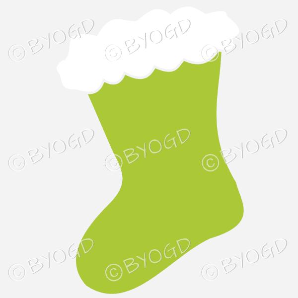Green Christmas stocking to hang on your Xmas tree