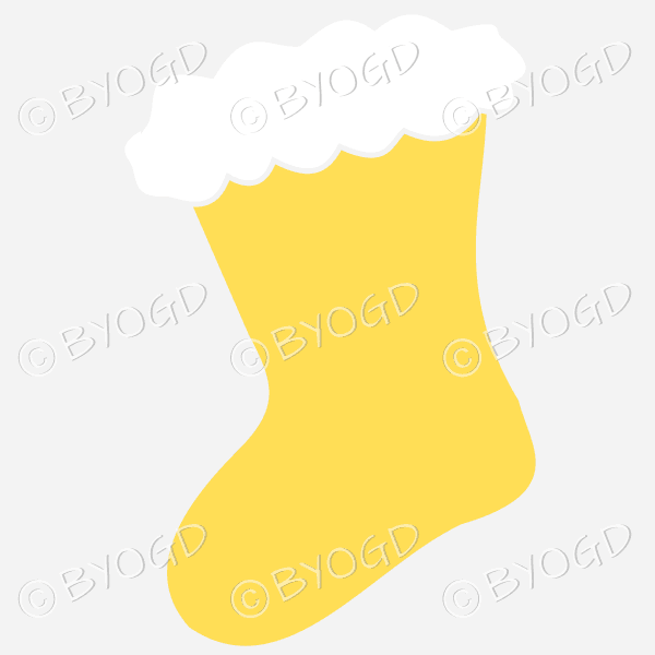 Yellow Christmas stocking to hang on your Xmas tree