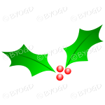 2 Holly leaves and berries for Christmas decorations