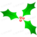 3 Holly leaves and berries for Christmas decorations