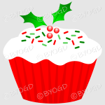 Red and green Christmas cupcake with holly decoration.
