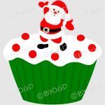 Red and green Christmas cupcake with Santa decoration. Xmas means delicious food and these sweet treats have festive frosting to make your viewers feel seasonal.