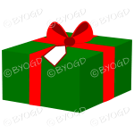 Green and red Christmas gift box with ribbon.