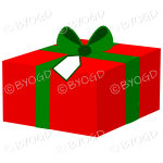 Red and green Christmas gift box with ribbon.