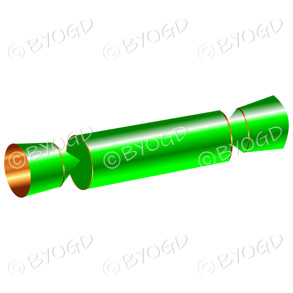 Christmas cracker in shiny green foil.