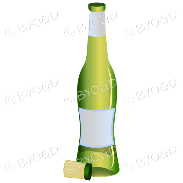 Green bottle of white wine or champagne.
