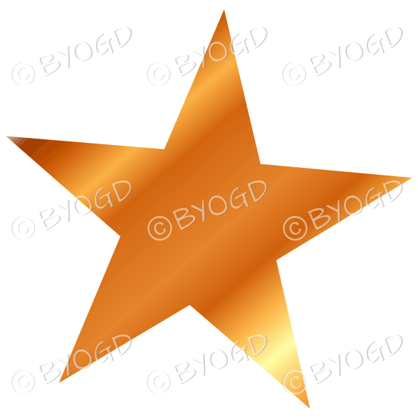 Gold shiny light reflective star.