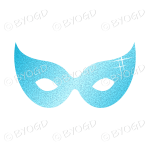 Light Blue Glitter effect Party Mask.