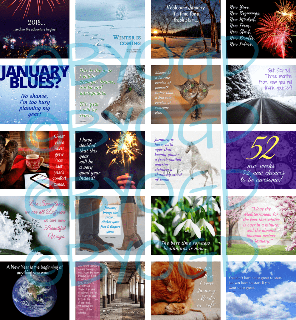 January Social Media Quote Graphics