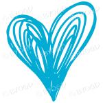 Light Blue heart doodle sticker for your social media