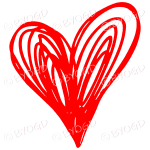 Red heart doodle sticker for your social media