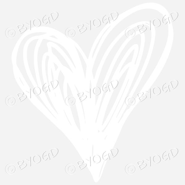 White heart doodle sticker for your social media
