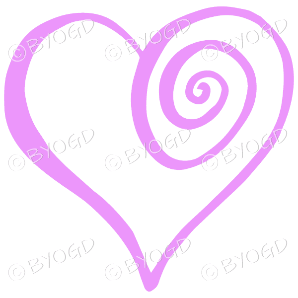 Pink spiral heart sticker for your social media