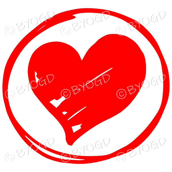 Red heart in a clear circle for your social media