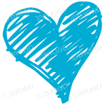 Light blue heart scribble