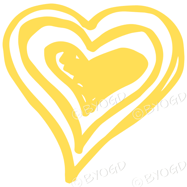 Yellow triple heart doodle for your social media