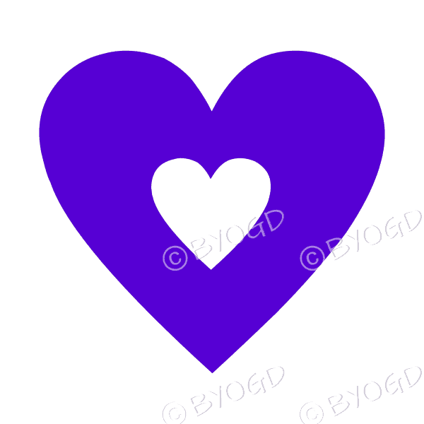 Purple love heart with clear cut-out middle