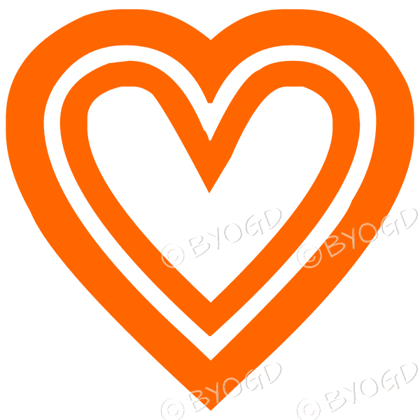 Orange double heart icon sticker