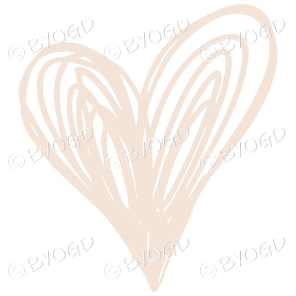 Beige heart doodle sticker