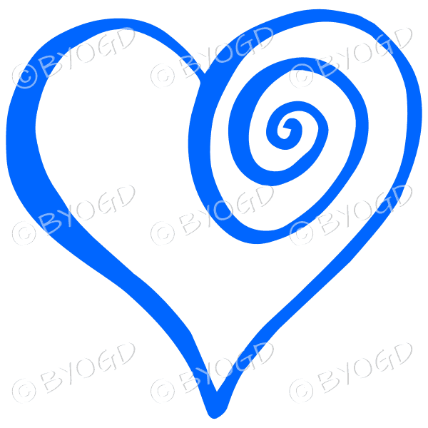 Blue spiral heart sticker