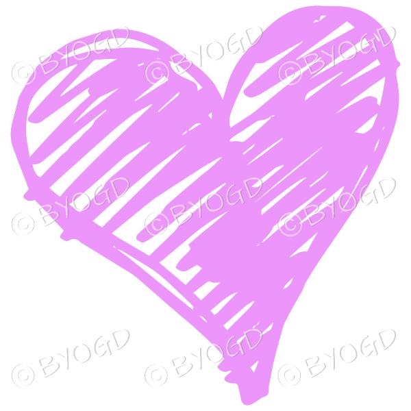 Pink heart scribble
