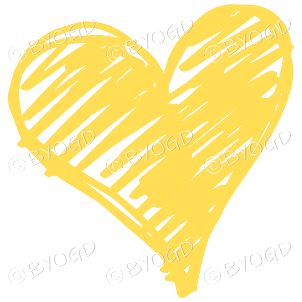 Yellow heart scribble
