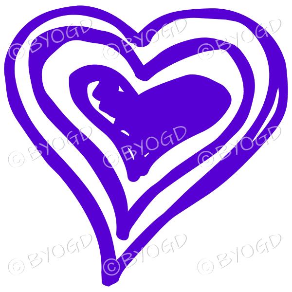 Purple triple heart doodle