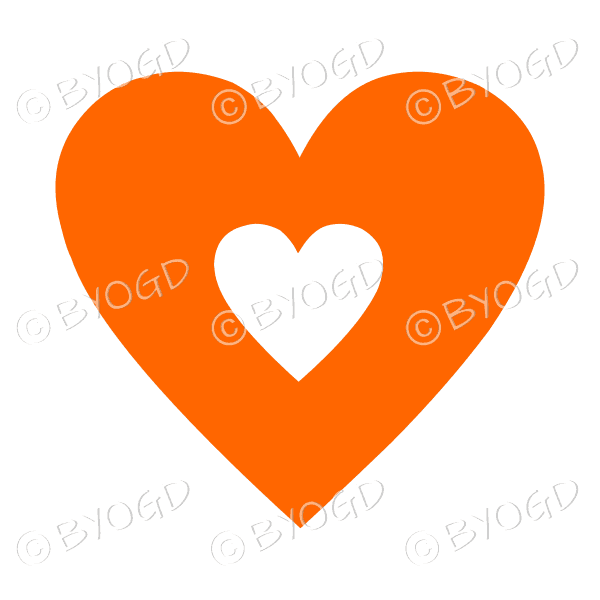 Orange love heart with clear cut-out middle