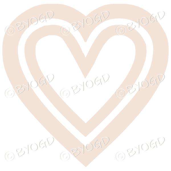 Beige double heart icon sticker