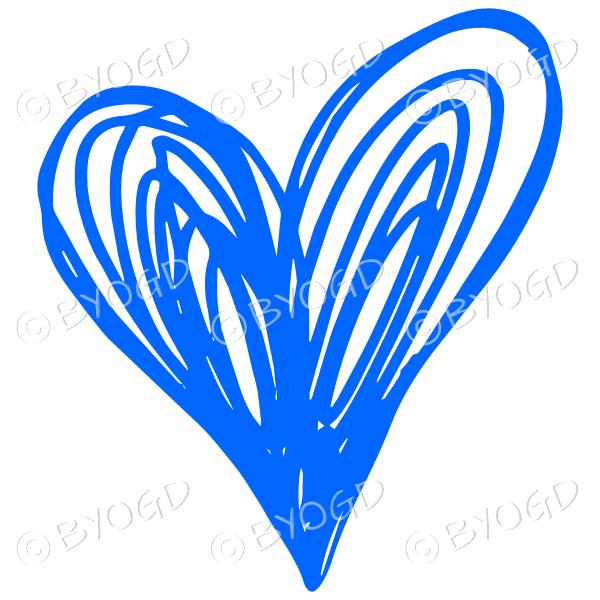 Blue heart doodle sticker