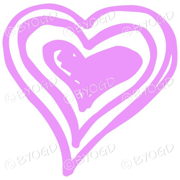 Pink triple heart doodle