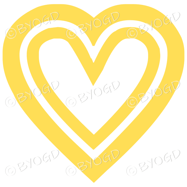 Yellow double heart icon sticker