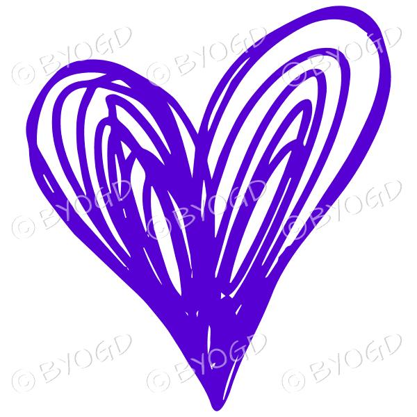 Purple heart doodle sticker