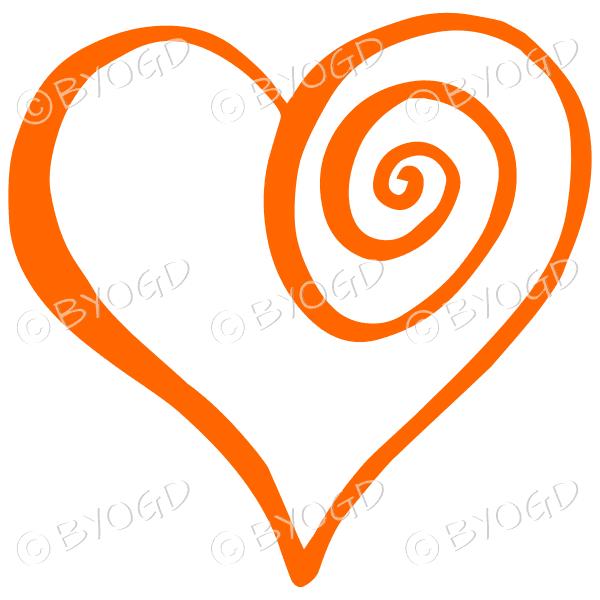 Orange spiral heart sticker