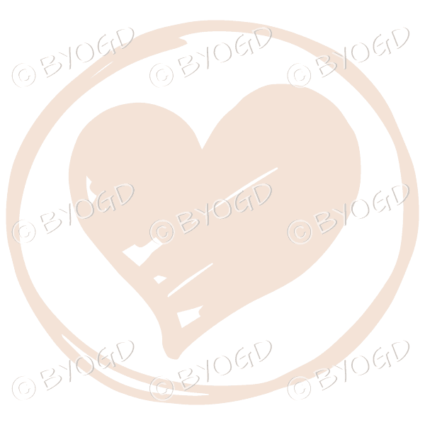Beige heart in a clear circle