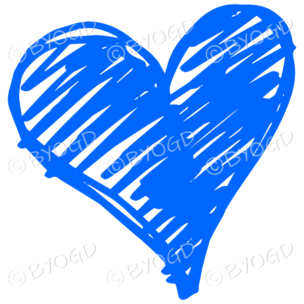 Blue heart scribble