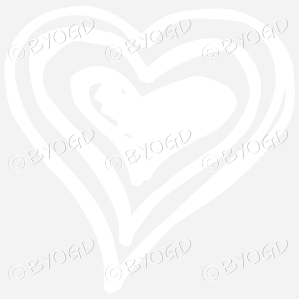 White triple heart doodle