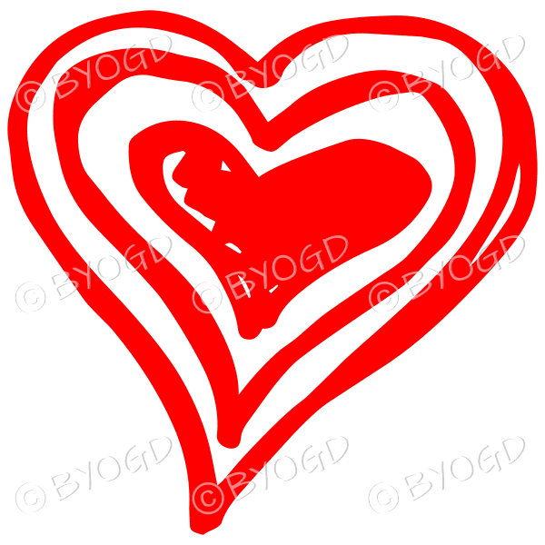 Red triple heart doodle