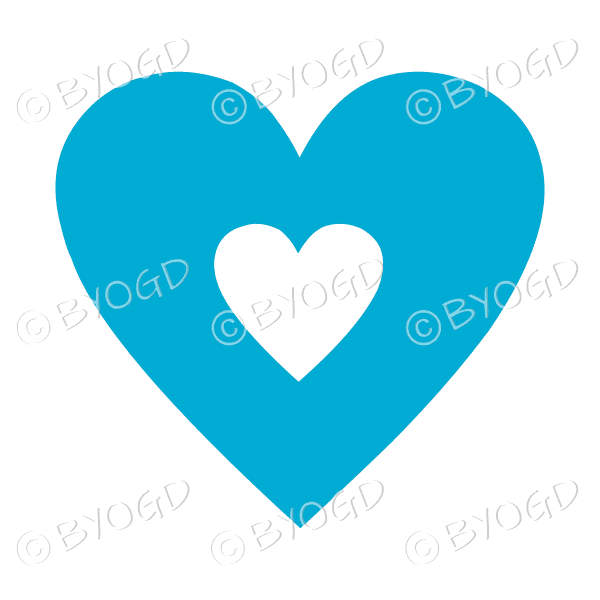 Light blue love heart with clear cut-out middle