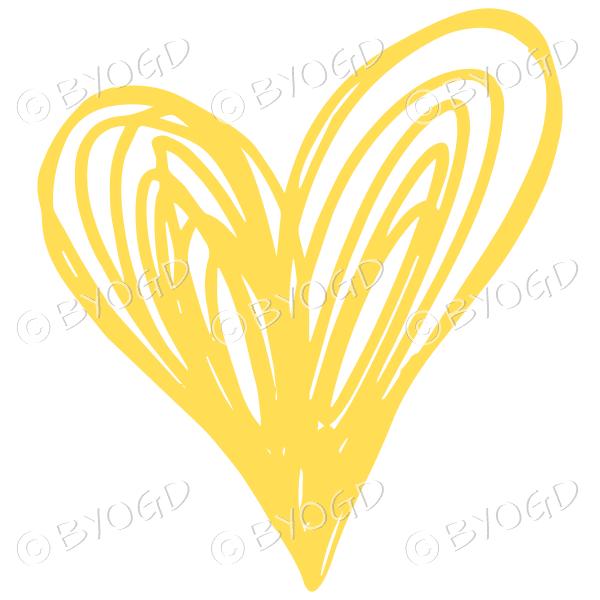 Yellow heart doodle sticker