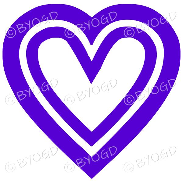 Purple double heart icon sticker