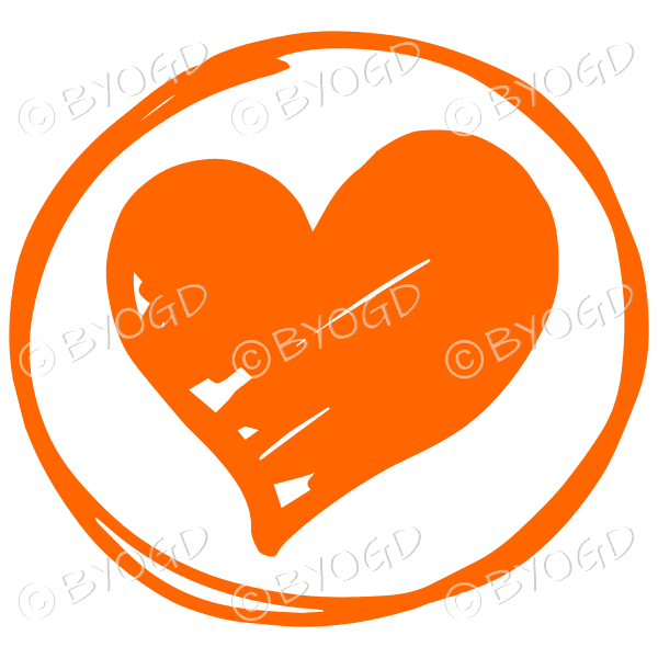 Orange heart in a clear circle